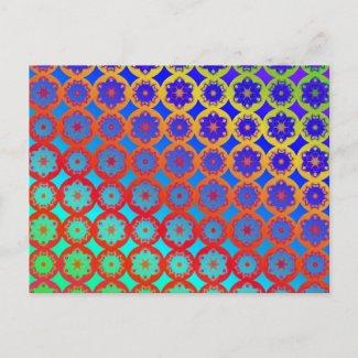 Postcard - Rainbow Mandala Fractal Pattern postcard