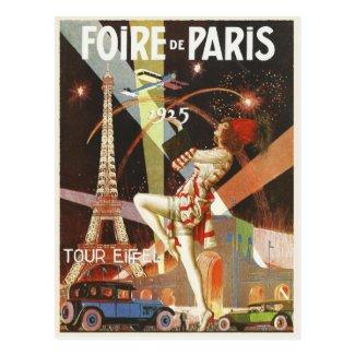 Postcard with 1920's Paris Art Deco Print