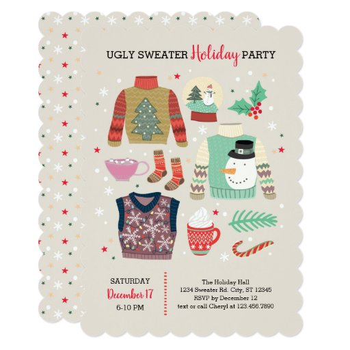 Poster Style Ugly Sweater Holiday Party Invitation