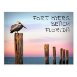 Posts & a Pelican | Fort Myers Beach, Florida Postcard