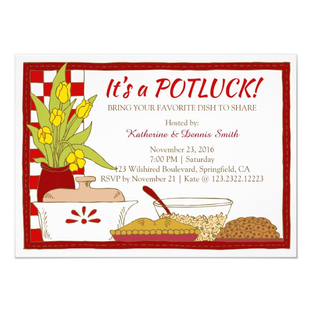 Potluck Party Dinner Or Lunch Birthday Invitation