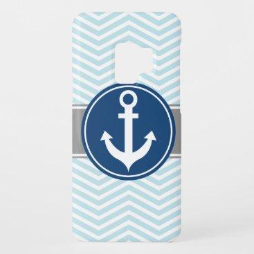 Powder Blue Nautical Anchor Chevron Case-Mate Samsung Galaxy S9 Case