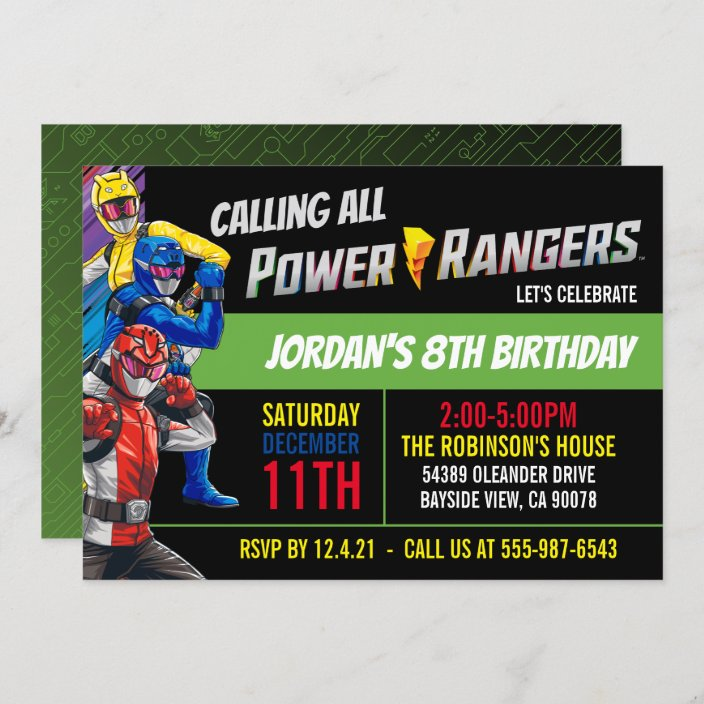 power rangers beast morphers birthday invitation zazzle com