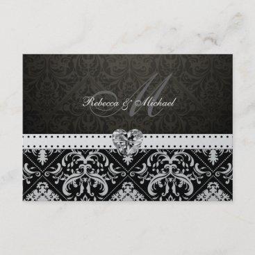 Premium Metallic Silver Damask RSVP Cards