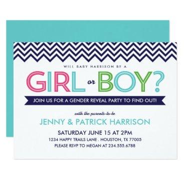 Preppy Chevron Baby Gender Reveal Party Invitation