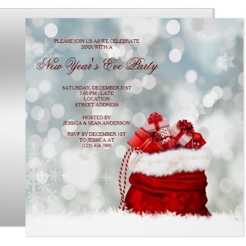 Present Filled Santa Sack New Year's Eve party Invitation