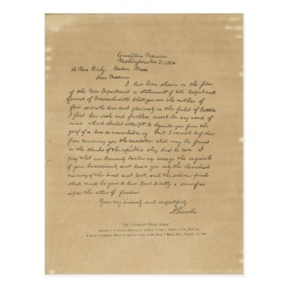 President Abraham Lincoln's Letter to Mrs. Bixby Post Card