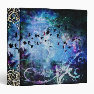 Pretty Abstract Fantasy Raven Magic Flourish Vinyl Binders