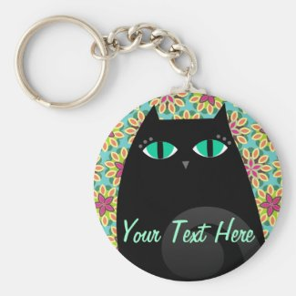 *Custom Name* Black Cat Keychains