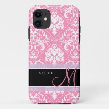 Pretty Bubblegum Pink and white damask w/ monogram iPhone 11 Case