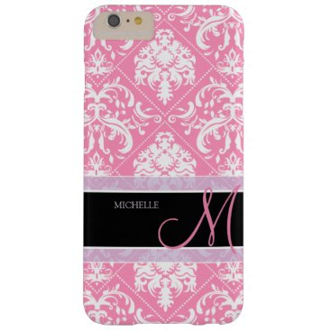 Pretty Bubblegum Pink and white damask w/ monogram Barely There iPhone 6 Plus Case