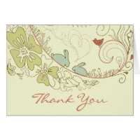 Pretty Bunny Rabbits, Flowers and Hearts Thank You Card