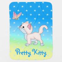 pretty cat stars kitten baby blanket