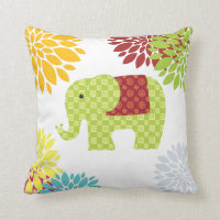 Pretty Colorful Hippie Elephant Flower Power Throw Pillow