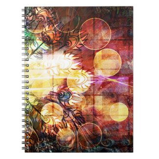 Pretty Colorful Peacock Feathers Design Spiral Note Book
