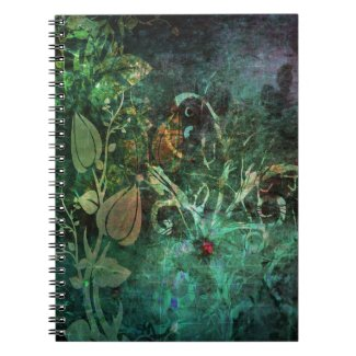 Pretty Floral Vine Abstract Grunge Design Spiral Note Books