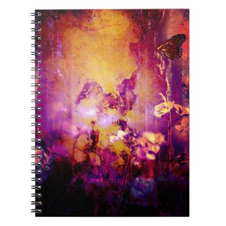 Pretty Gold and Purple Grunge Butterfly Notebook