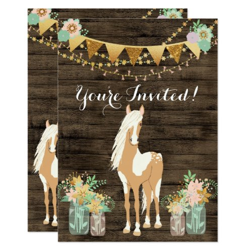 Pretty Horse, Flowers, Rustic Wood Birthday Invite