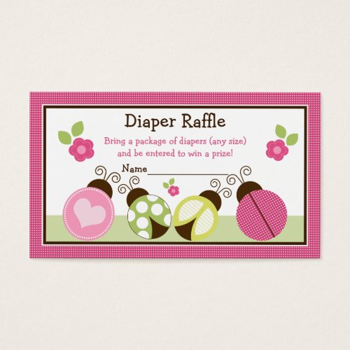Pretty Ladybugs & Flowers Diaper Raffle Tickets
