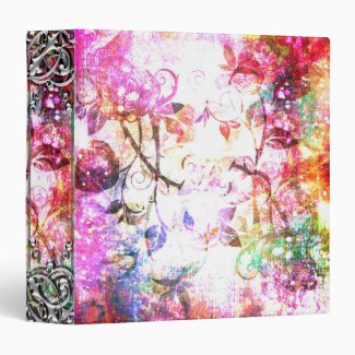 Pretty Pink Abstract Girly Fantasy Rose Design 3 Ring Binders