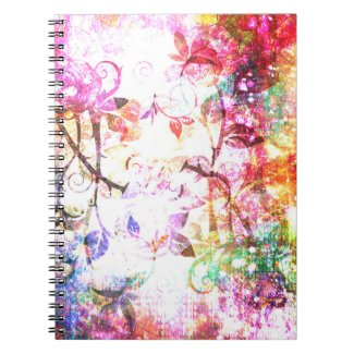 Pretty Pink Abstract Girly Fantasy Rose Design Spiral Notebooks