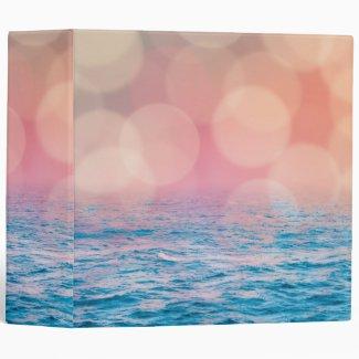 Pretty Pink and Blue Girly Bokeh Ocean Binder