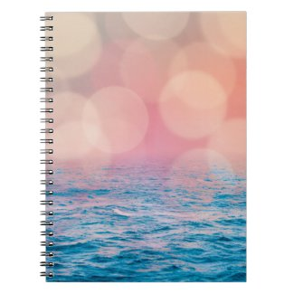 Pretty Pink and Blue Girly Bokeh Ocean Notebook