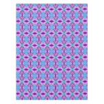 Pretty Pink Blue Floral Abstract Pattern Design Tablecloth