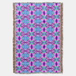 Pretty Pink Blue Floral Abstract Pattern Design Throw Blanket