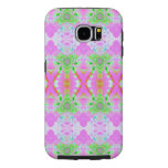Pretty pink green jewel fractal pattern samsung galaxy s6 cases