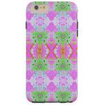 Pretty pink green jewel fractal pattern tough iPhone 6 plus case