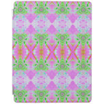 Pretty pink green jewel fractal pattern iPad cover