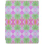 Pretty pink green jewel fractal pattern iPad cover