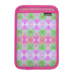 Pretty pink green jewel fractal pattern iPad mini sleeves