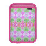 Pretty pink green jewel fractal pattern iPad mini sleeves