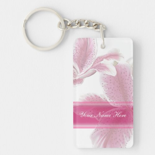 Pretty Pink Lilies Double-Sided Rectangular Acrylic Keychain