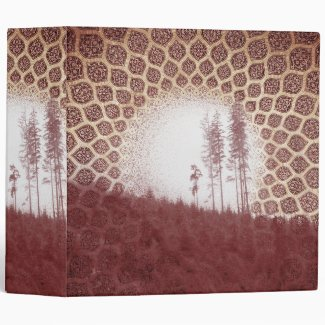 Pretty Red Forest Bohemian Tribal Sun and Trees 3 Ring Binders