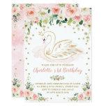 Pretty Swan / Blush Pink Gold Floral Girl Birthday Invitation
