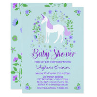 Pretty Unicorn Purple Aqua Baby Shower Invitation
