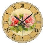 Pretty Vintage Pink Roses Wood Look Border Large Clock
