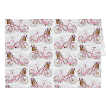 Pretty watercolor hand paint vintage bicycle card
