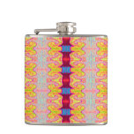 Pretty yellow red ribbons hip flasks
