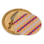 Pretty yellow red ribbons round cheeseboard