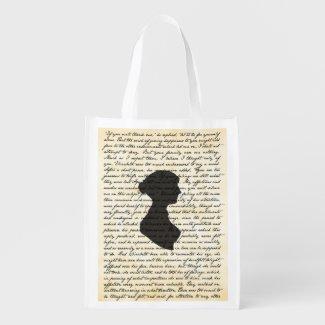Pride and Prejudice Jane Austen Reusable Bag Reusable Grocery Bags