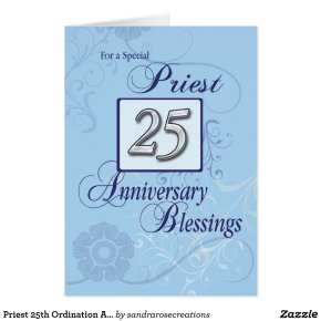 Priest 25th Ordination Anniversary Blue, Silver