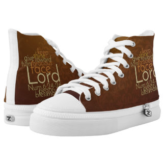 Priestly Blessing on Copper Brown Damask High-Top Sneakers