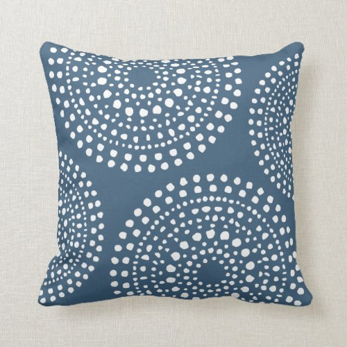 Primitive Boho Mosaic Pattern Dark Denim Blue Throw Pillow