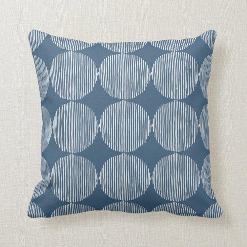 Primitive Geometric Squares Blue Throw Pillow