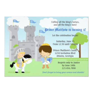 Prince and Knight Kids Birthday Party Invitation