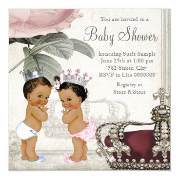 Prince and Princess Ethnic Twin Baby Shower Invitation